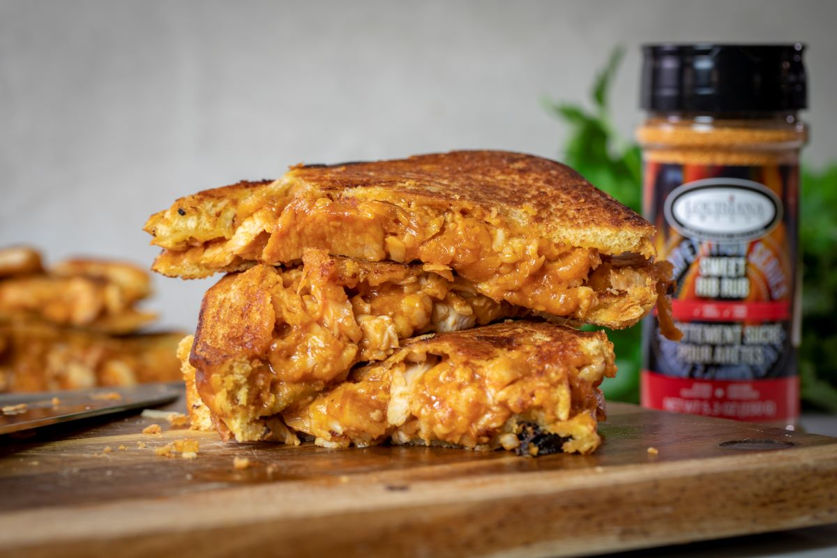 Grilled Cheese with BBQ Chicken