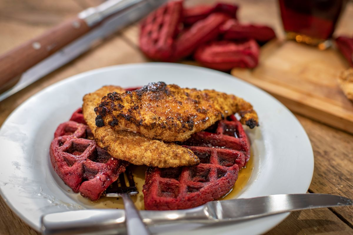Bourbon Breaded Chicken and Waffles