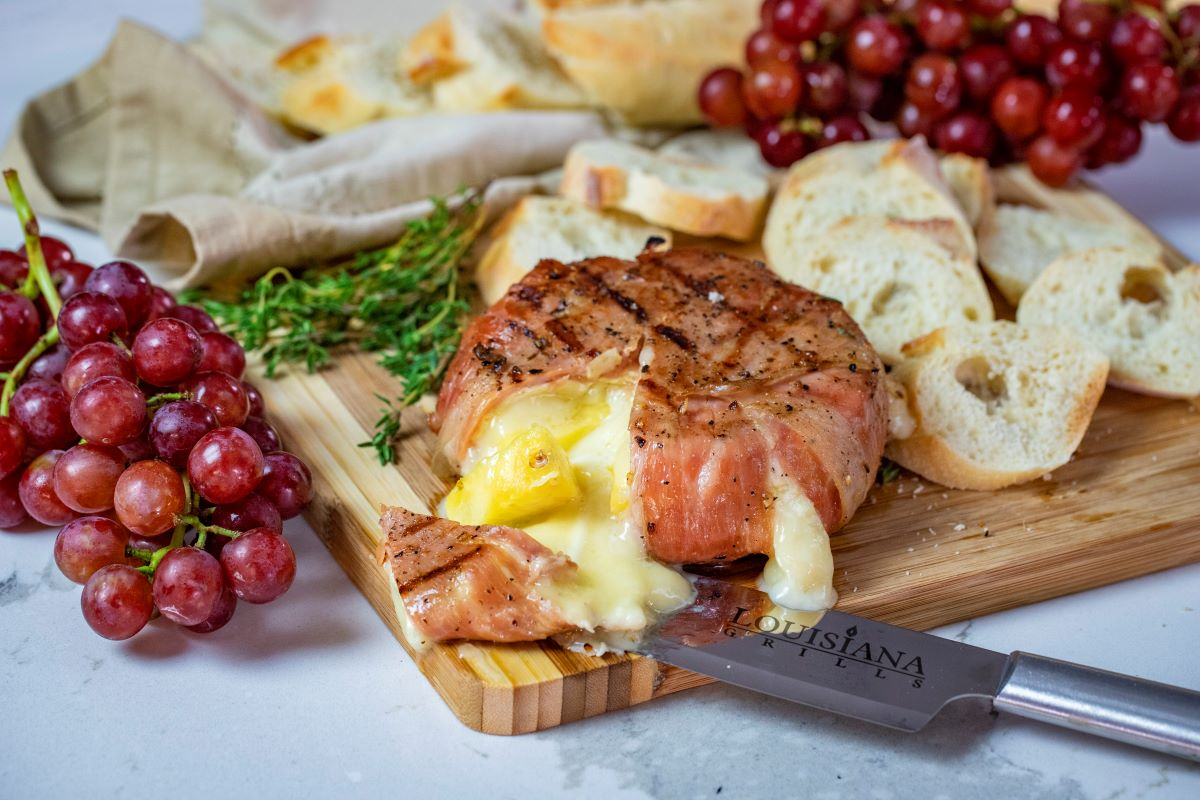 Prosciutto Wrapped Brie with Pineapple