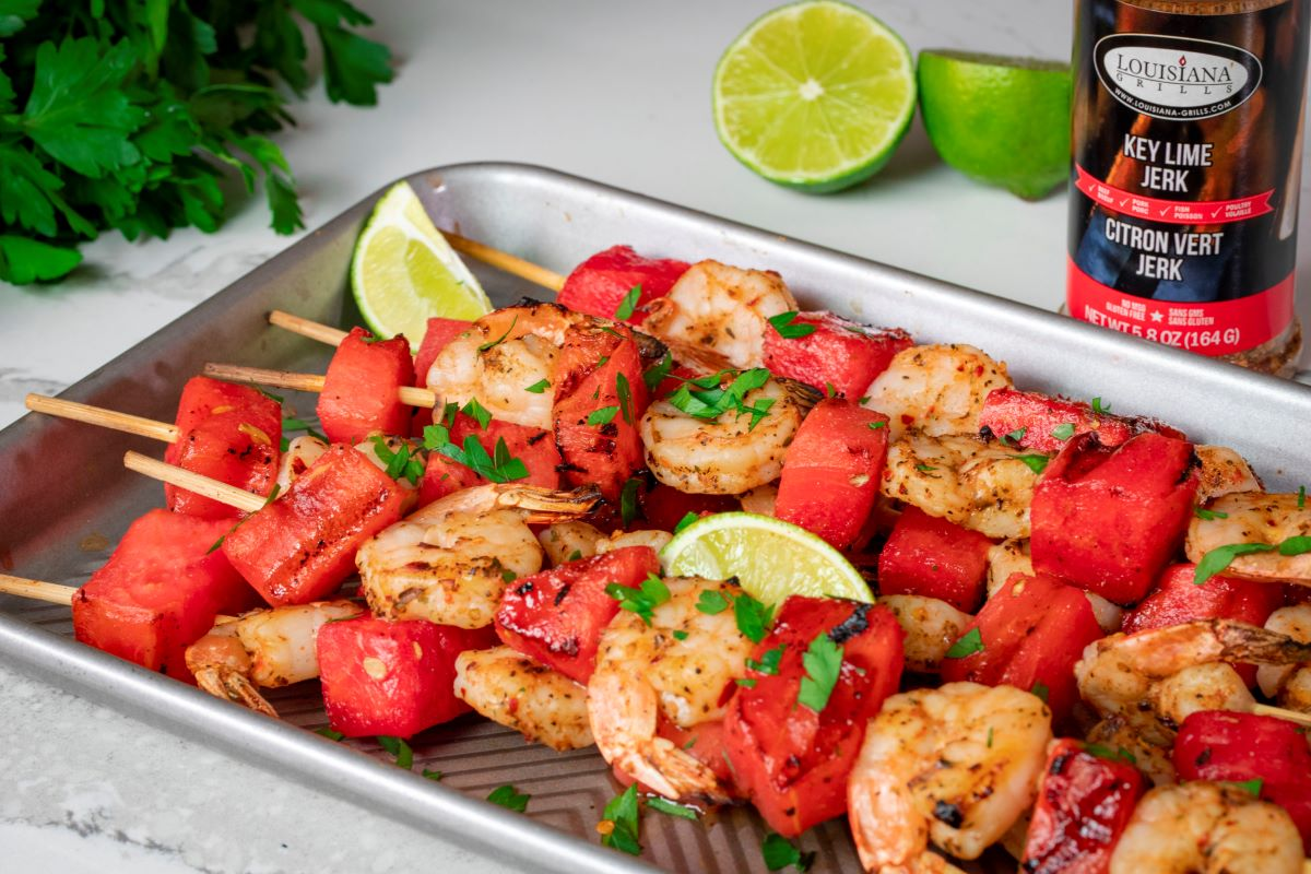 Grilled Shrimp Skewers with Watermelon